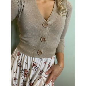 Small, Suzy Shier, mid length gold cardigan